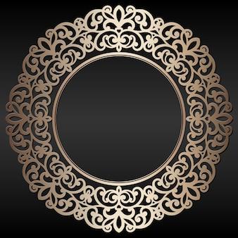 Рамка абстрактного винтажного золота круглая на черной предпосылке ,.