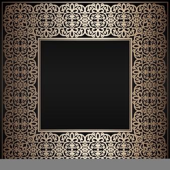 Абстрактная винтажная рамка квадрата золота на черной предпосылке ,. Premium векторы
