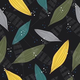 抽象的なビンテージ葉のシームレスなパターン背景
