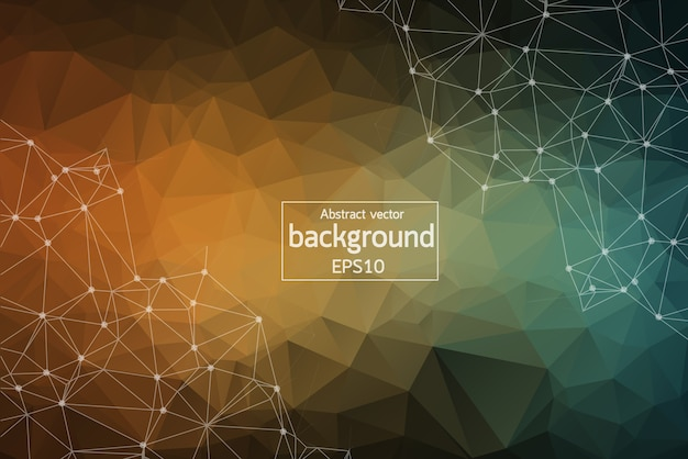 Abstract vintage polygonal space background with connecting dots and lines.