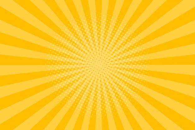 하프 톤 효과와 추상 빈티지 레트로 오렌지 광선 배경