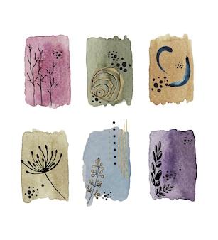 抽象的なヴィンテージ水彩ステイン要素、花や葉。ペイントブラシのテクスチャ。