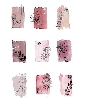 추상 빈티지 수채화 얼룩 요소, 꽃과 잎. 페인트 브러시 텍스처입니다.