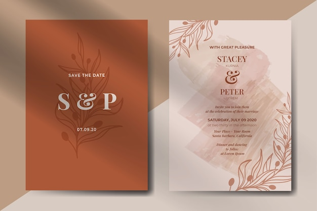 Abstract vintage wedding invitation with leaves