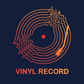 Abstract vinyl record wave music