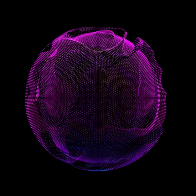 Abstract violet colorful mesh sphere dark background.