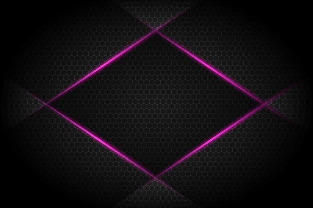 어두운 회색 빈 공간 디자인 현대 미래 배경에 추상 바이올렛 빛 라인 슬래시