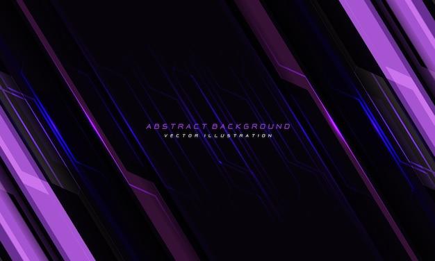 抽象的なバイオレットラインサイバー回路スラッシュブラックデザイン現代の未来的な技術の背景。