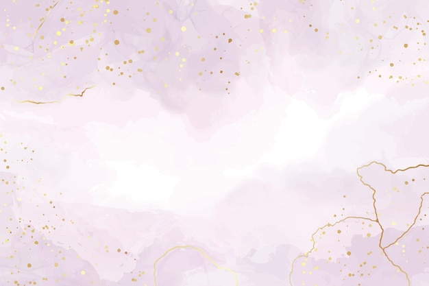 Abstract violet liquid watercolor background with golden stains and lines
