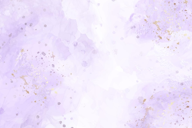 Abstract violet liquid watercolor background with golden stains