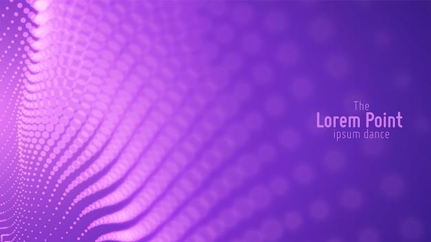 Onda di particelle viola astratta, array di punti, profondità di campo ridotta. illustrazione futuristica. tecnologia digitale splash o esplosione di punti dati. forma d'onda di danza del punto.