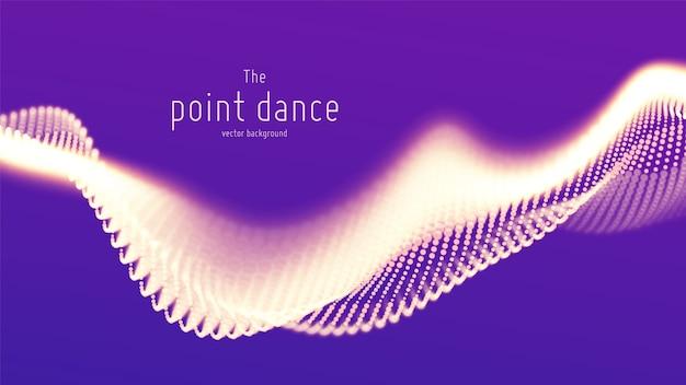 抽象的な紫色の粒子波、ポイント配列、浅い被写界深度。未来のイラスト。テクノロジーのデジタルスプラッシュまたはデータポイントの爆発。
