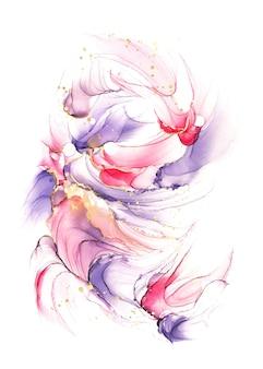 Абстрактный фиолетовый розовый и красный жидкий акварельный фон с мазками золотого блеска