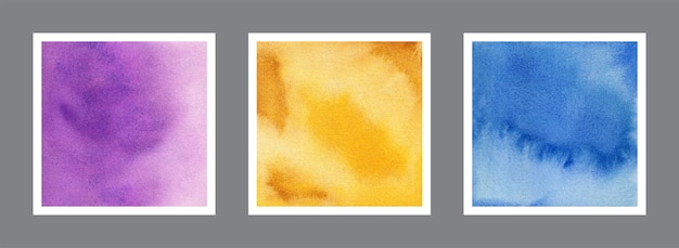 Abstract violet, yellow and blue watercolor background collection