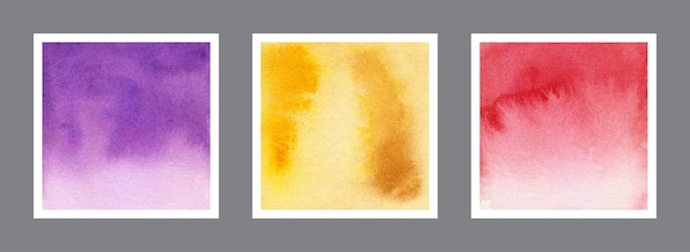 Abstract violet, yellow and red watercolor background collection