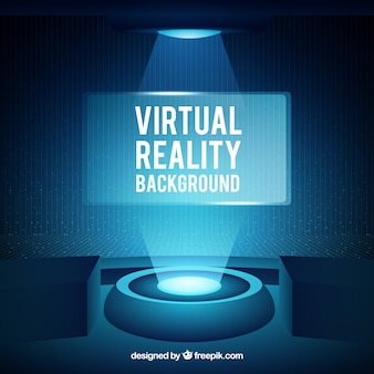 Abstract virtual reality background in blue color