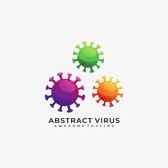 Abstract virus illustration logo design colorful