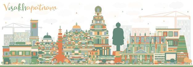Абстрактный горизонт висакхапатнама с цветными зданиями. векторные иллюстрации. деловые поездки и концепция туризма с исторической архитектурой. изображение для презентационного баннера и веб-сайта.