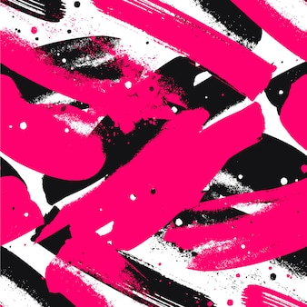 Abstract vivid pink and black paint strokes pattern