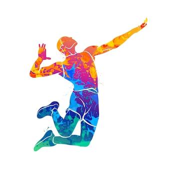 水彩画のスプラッシュからジャンプ抽象的なバレーボール選手。塗料のイラスト。
