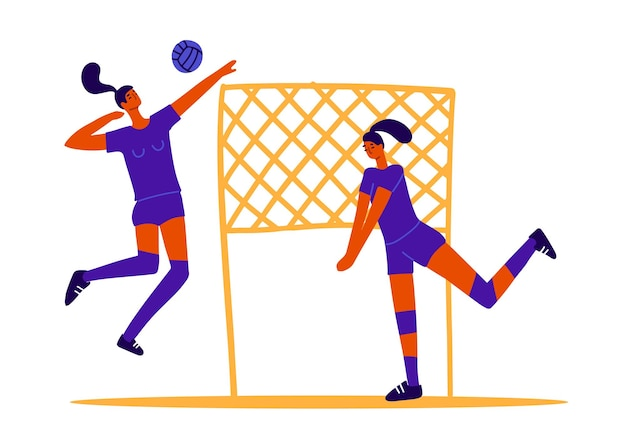 Abstract volleyball players two girls playing volleyball female sports games ball game concept  wome...