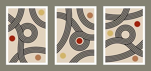 Абстрактное искусство стены с линиями домашнего орнамента