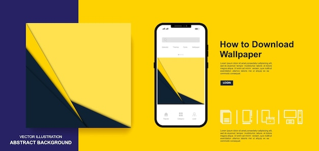 Abstract wallpaper blue and yellow color background social media post templates design