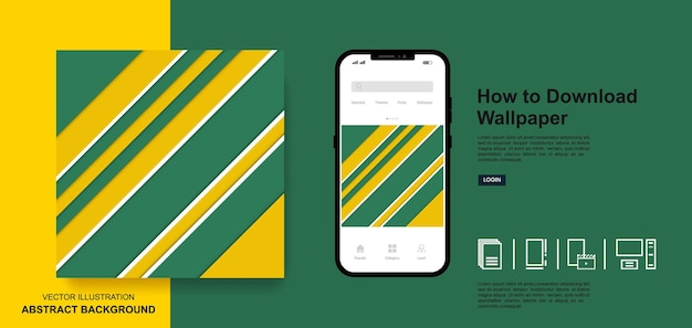 Abstract wallpaper green and yellow color background social media post templates design