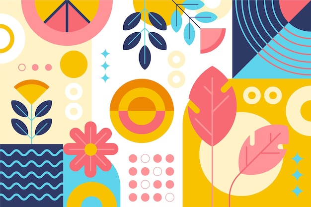 Abstract wallpaper with shapes and plants