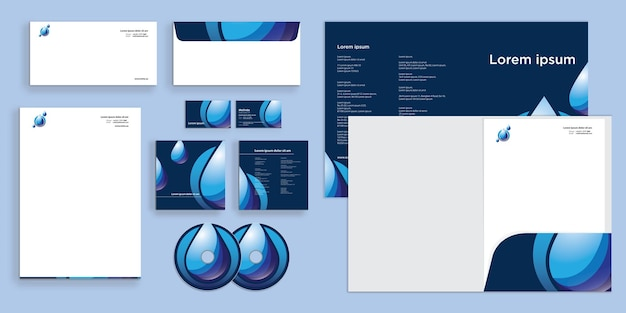Abstract water drop logo purify modern corporate business identity stationary
