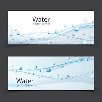 Abstract water transparent drops banner set