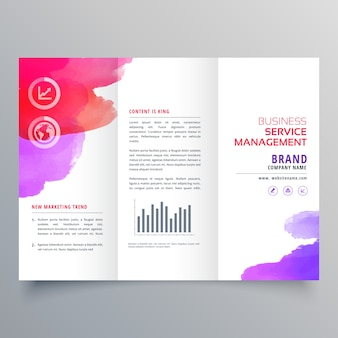 Abstract waterclor trifold business brochure design template
