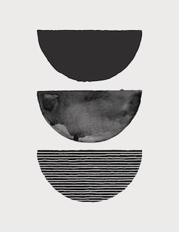 トレンディなミニマリストスタイルの抽象的な水彩画アートの背景。テンプレート、ポスター、ウォールアートプリント、カバー、パッケージング、ソーシャルメディアストーリーのモノクロ色のベクトル手描きイラスト