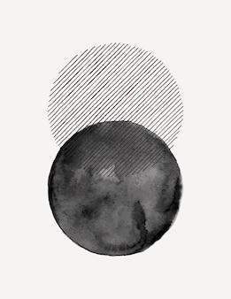 トレンディなミニマリストスタイルの抽象的な水彩画アートの背景。ポスター、ウォールアートプリント、カバー、パッケージング、ソーシャルメディアストーリーのシンプルな円の形や線のベクトル手描きイラスト