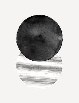 トレンディなミニマリストスタイルの抽象的な水彩画アートの背景。テンプレート、ポスター、ウォールアートプリント、カバー、ソーシャルメディアストーリーのシンプルな円の形や線のベクトル手描きイラスト