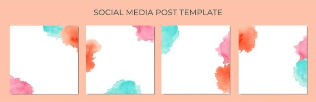 소셜 미디어 게시물 템플릿의 배경으로 추상 수채화