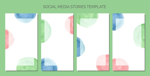 Abstract watercolor as background of social media stories template