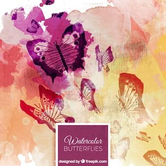 Acquarello astratto di farfalle