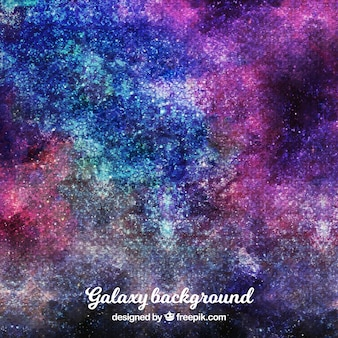 Abstract watercolor background of colorful galaxy