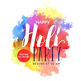 Abstract watercolor background for happy holi festival