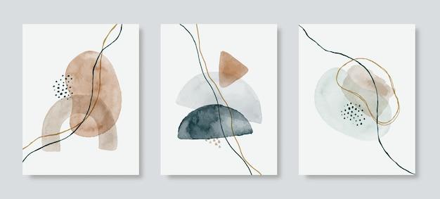Абстрактный фон акварель набор в модном минималистском стиле. векторная рисованная иллюстрация в пастельных тонах для шаблонов, плакатов, настенных репродукций, обложек, упаковки, историй в социальных сетях