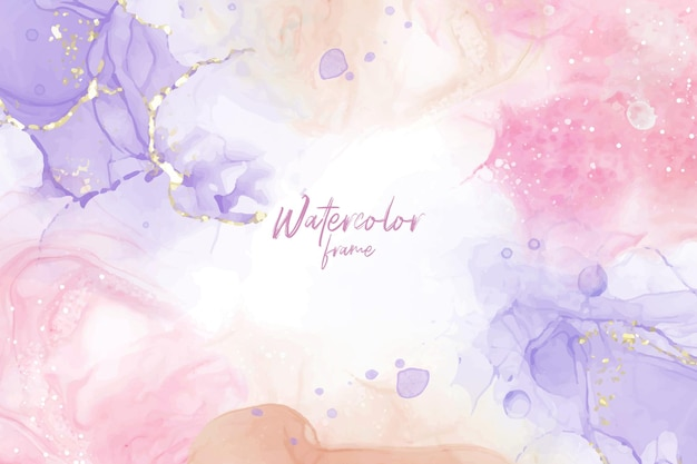 Abstract watercolor background set with pastel color and colorfull fluid art painting design