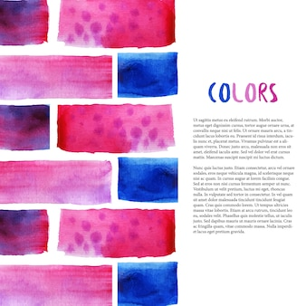 抽象的な水彩の背景。熱帯の色とレンガとの境界。チラシ、バナー、ポスター、パンフレットのベクトルテンプレート