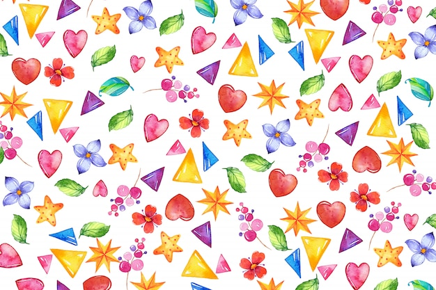 Abstract watercolor background with flowers and triangles