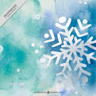 Abstract watercolor background with snowflake