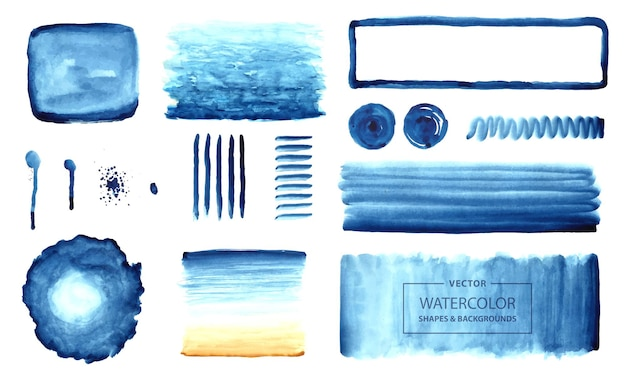Abstract watercolor backgrounds and shapes vector set