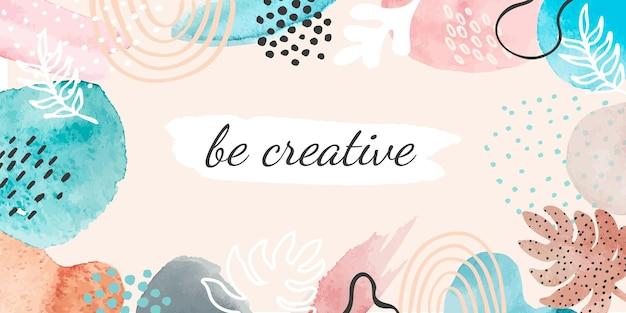 Абстрактная акварель баннер. креативный плакат для мотивации или художественной школы с пятном, брызгами и текстурой кисти. современный векторный образец. плакат всплеск акварель, жидкая художественная иллюстрация