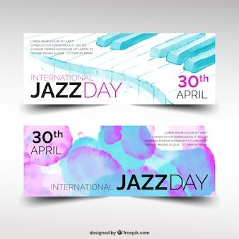 ジャズの日の抽象的な水彩画のバナー