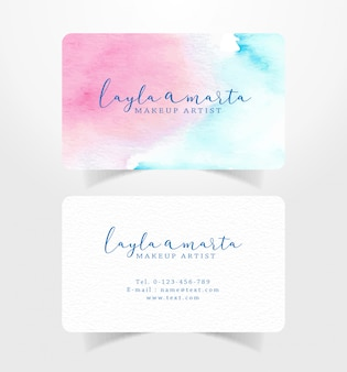 Abstract watercolor on business card design template