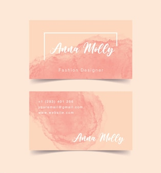 Abstract watercolor business card with pastel color